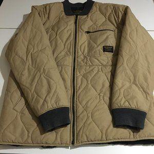 Burton Mens XL Quilted Jacket Beige Zip Up Lined